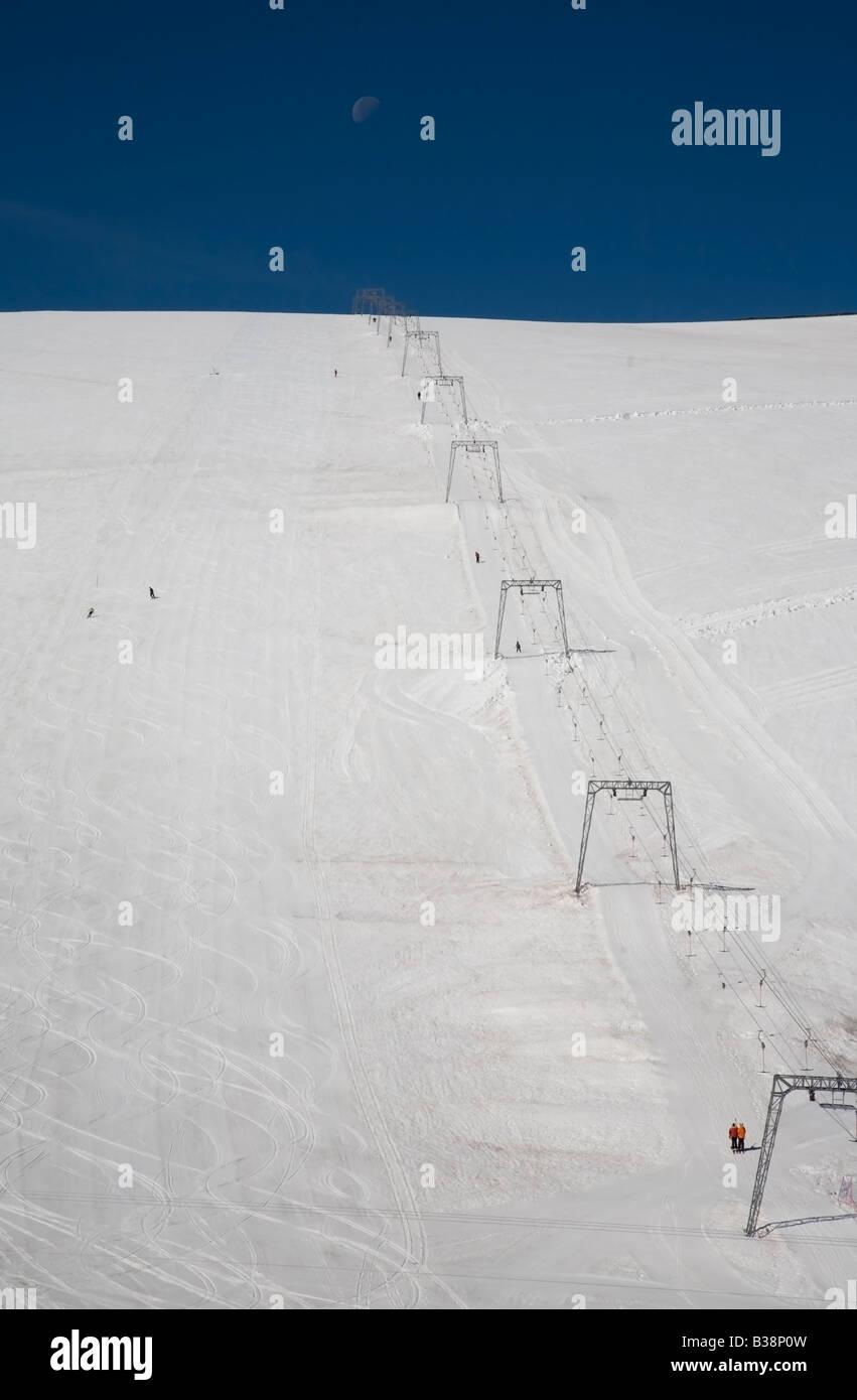 Norway Jotunheimen fjell Galdöpiggen summer skiing - Stock Image