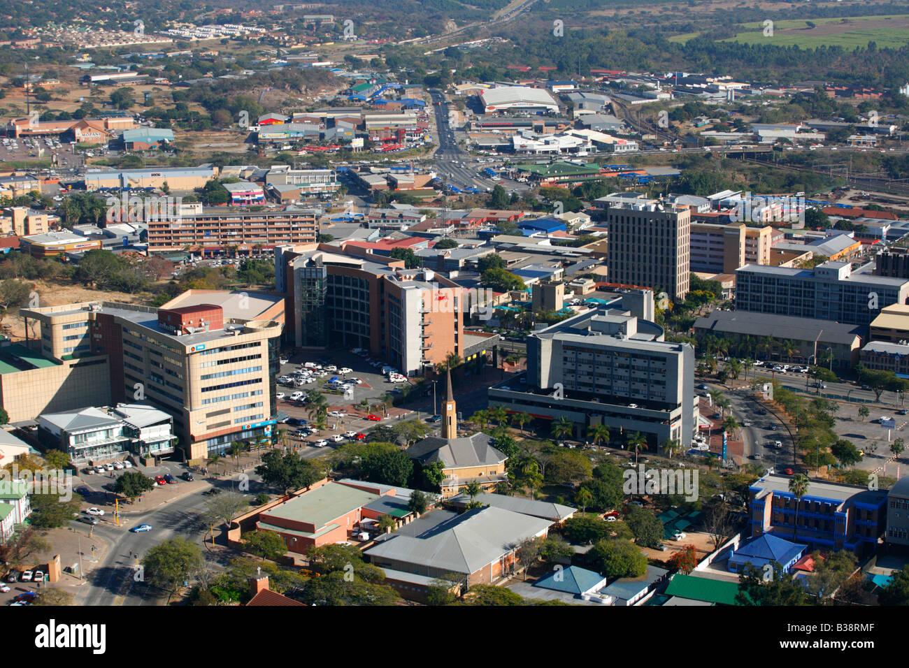 Aerial view of the Nelspruit CBD - Stock Image