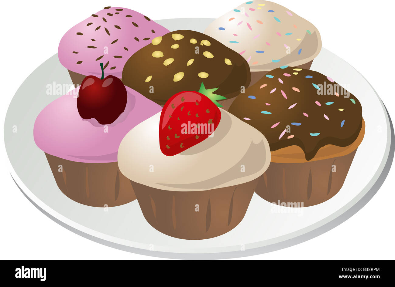 Various cupcakes arranged on a plate isometric illustration - Stock Image