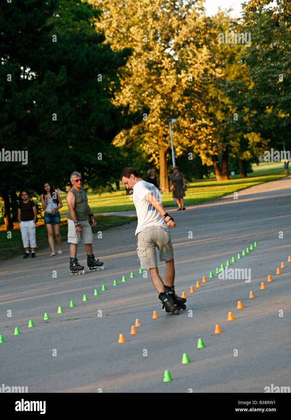 Aug 2008 - People Skating at Letna Park Prague Czech Republic - Stock Image