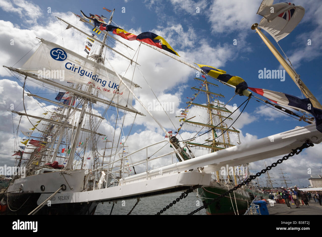 Three masted Barque from UK in Tall Ships race berthed at Wellington Dock Merseyside England UK 2008 - Stock Image
