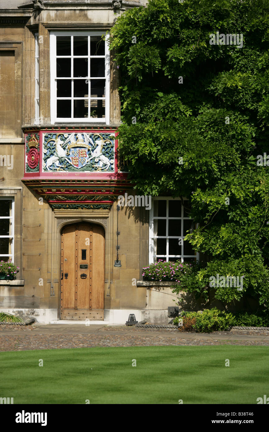 City of Cambridge, England. First Court of Christ College Cambridge with the Master's Lodge. - Stock Image