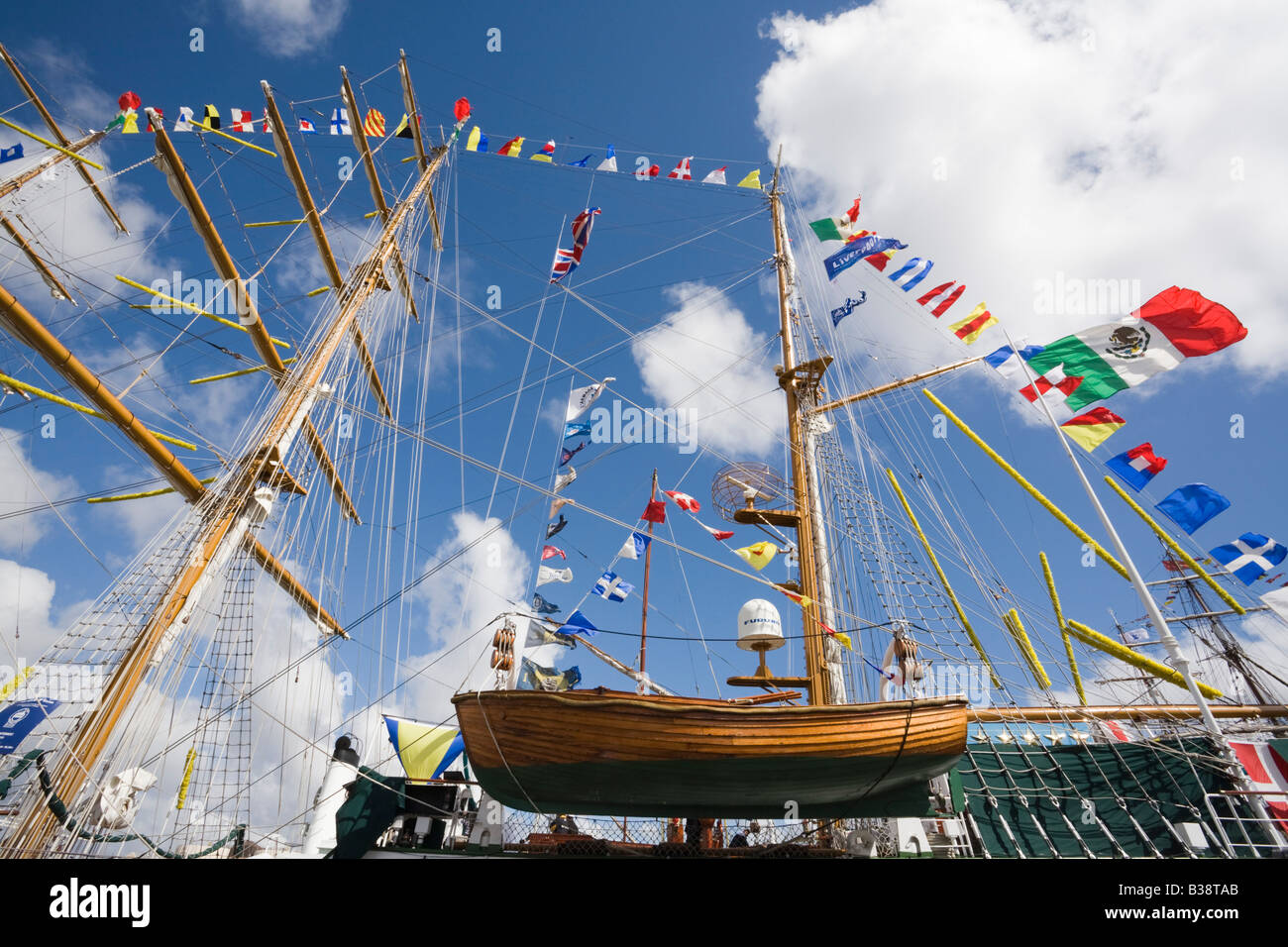 Wooden lifeboat on Cuauhtemoc three-masted Barque from Mexico in Tall Ships race berthed in dock - Stock Image