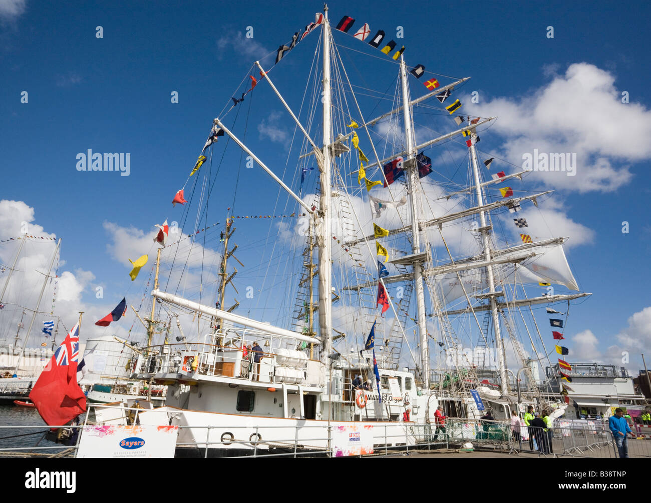 """""""Lord Nelson"""" three masted Barque in Tall Ships race in Wellington Dock Liverpool Merseyside England UK Stock Photo"""
