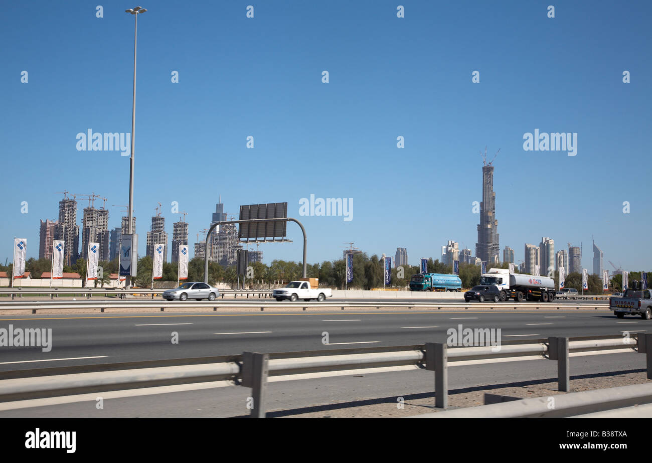 View on Burj Dubai construction site and surrounding. It is planned to be the highest building in the world Stock Photo