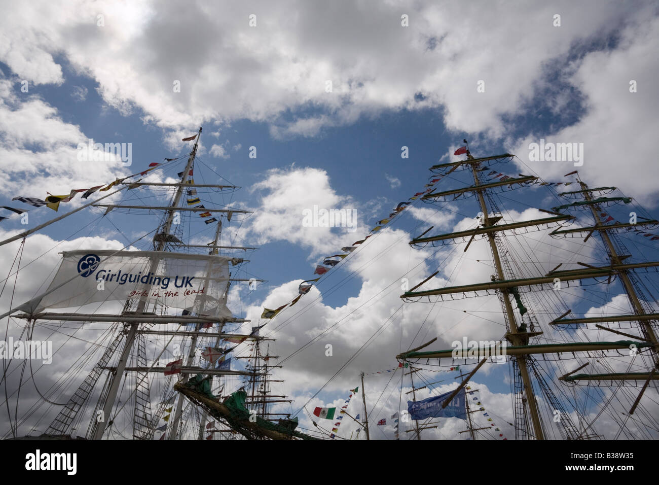 Square rigged masts on boats in Tall Ships race berthed at Wellington Dock Liverpool Merseyside England UK 2008 - Stock Image