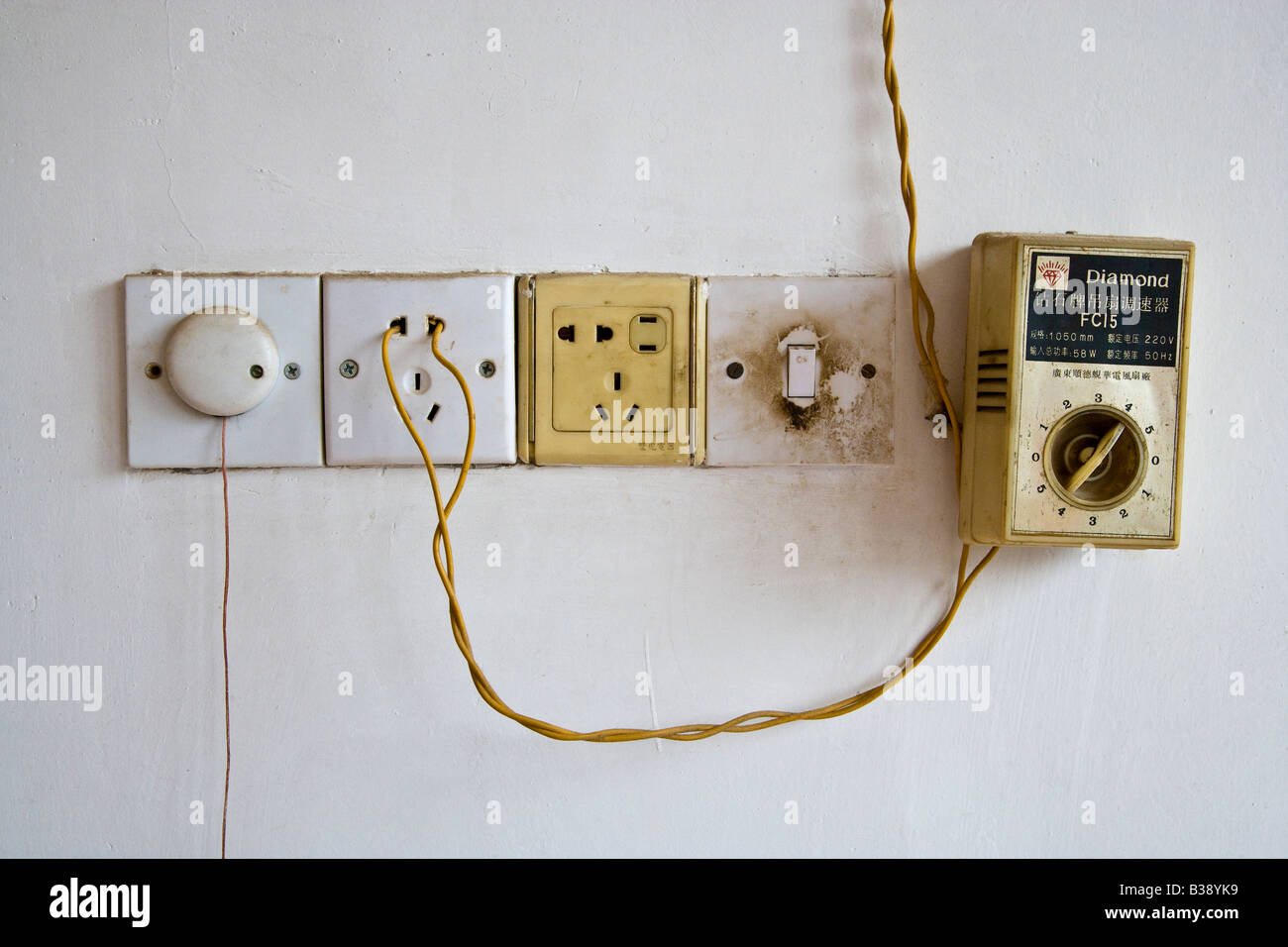 Electrical Sockets Switch Fan Speed Controller And Improvised Plug Wiring With On Wall Of Chinese Home Jmh3184