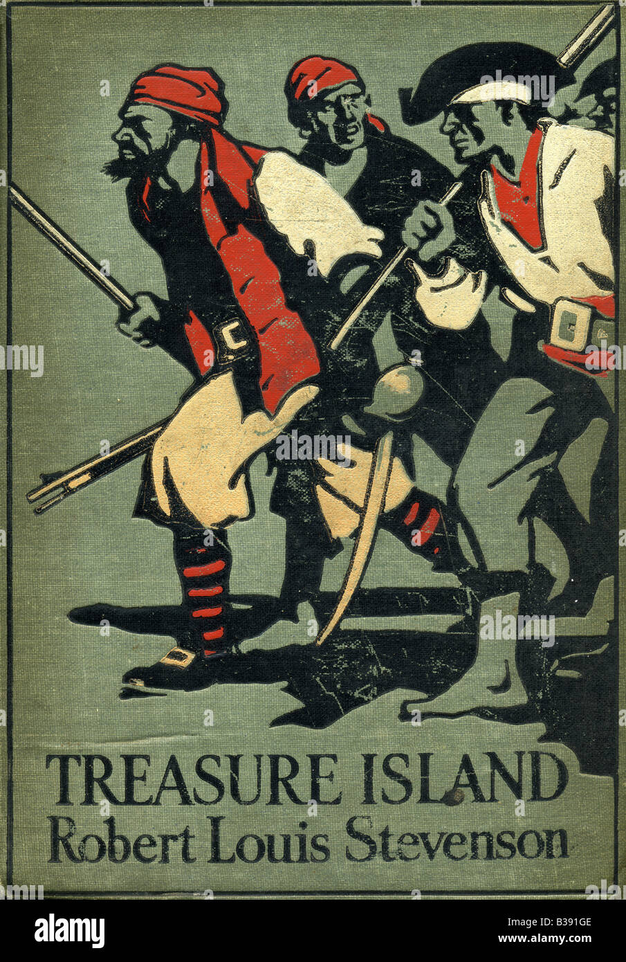 Front of 1911 edition of Treasure Island by Robert Louis Stevenson with John Cameron published by Cassell FOR EDITORIAL - Stock Image