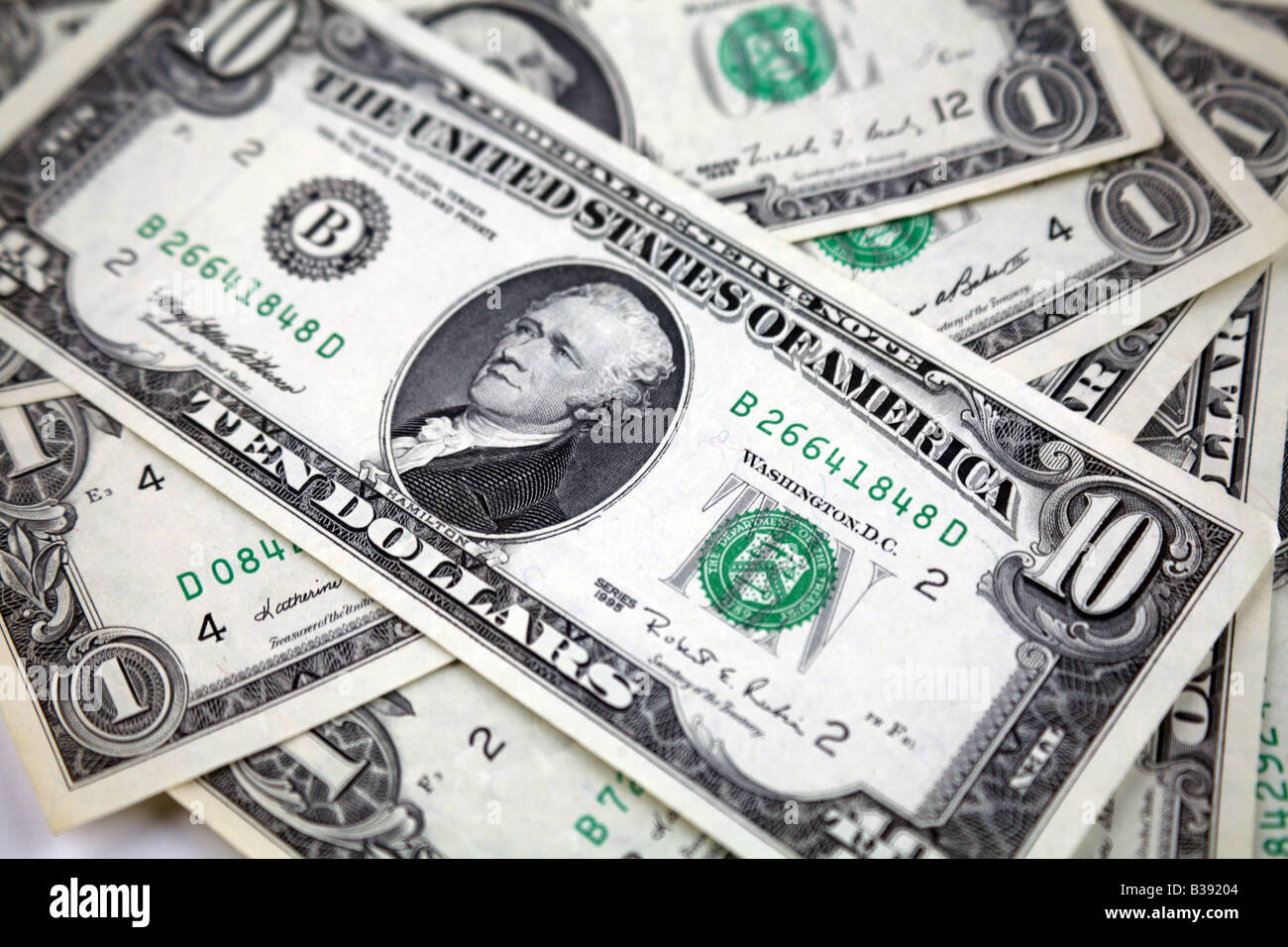 10 dollar Green Back Bank note Dollars from United States of America - Stock Image