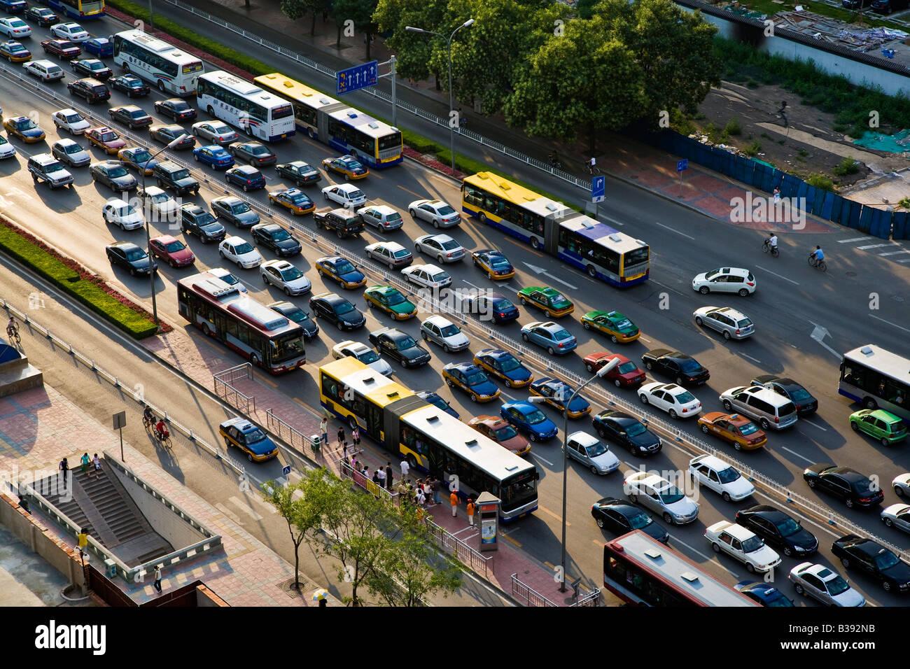 Aerial shot of rush hour traffic jam on Dongchang'an Jie Jianguomennei Dajie main east west road in Beijing - Stock Image