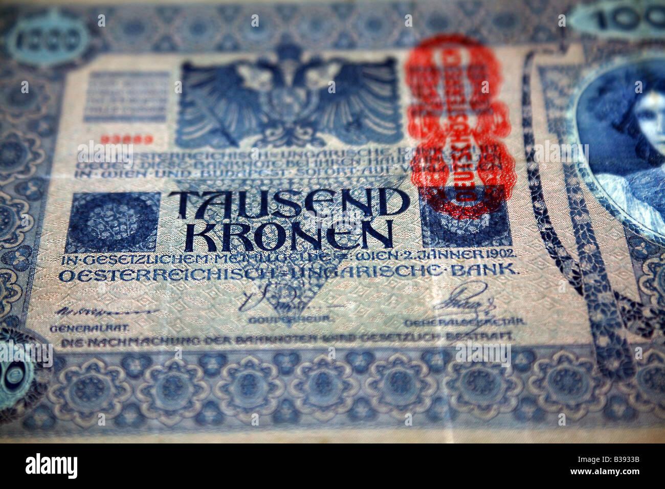 AUSTRIA - 1000 TAUSEND KRONEN, MBC - 1902 - COM FURO DE CUPIM - Stock Image