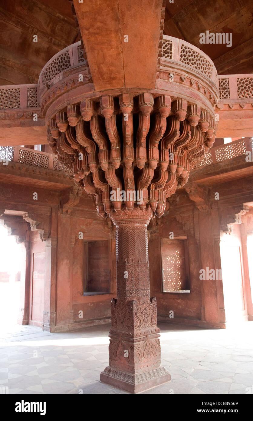 India Fatehpur Sikri sandstone palaces Emperor Akbar s private lotus seat 2008 - Stock Image