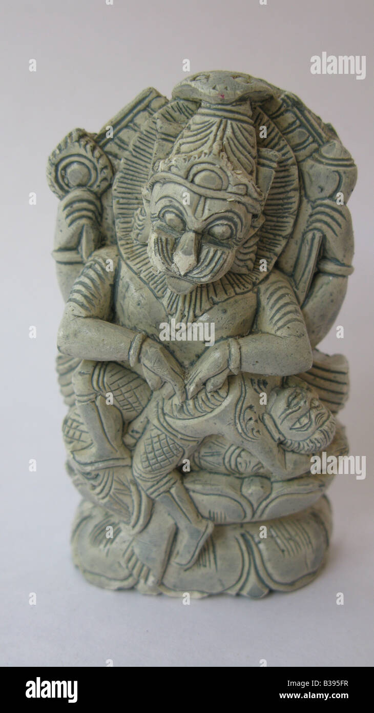 This is narasimha (man-lion) avatar of Lord Vishnu, one of the ten avatars of Vishnu that appeared in the Satya Stock Photo