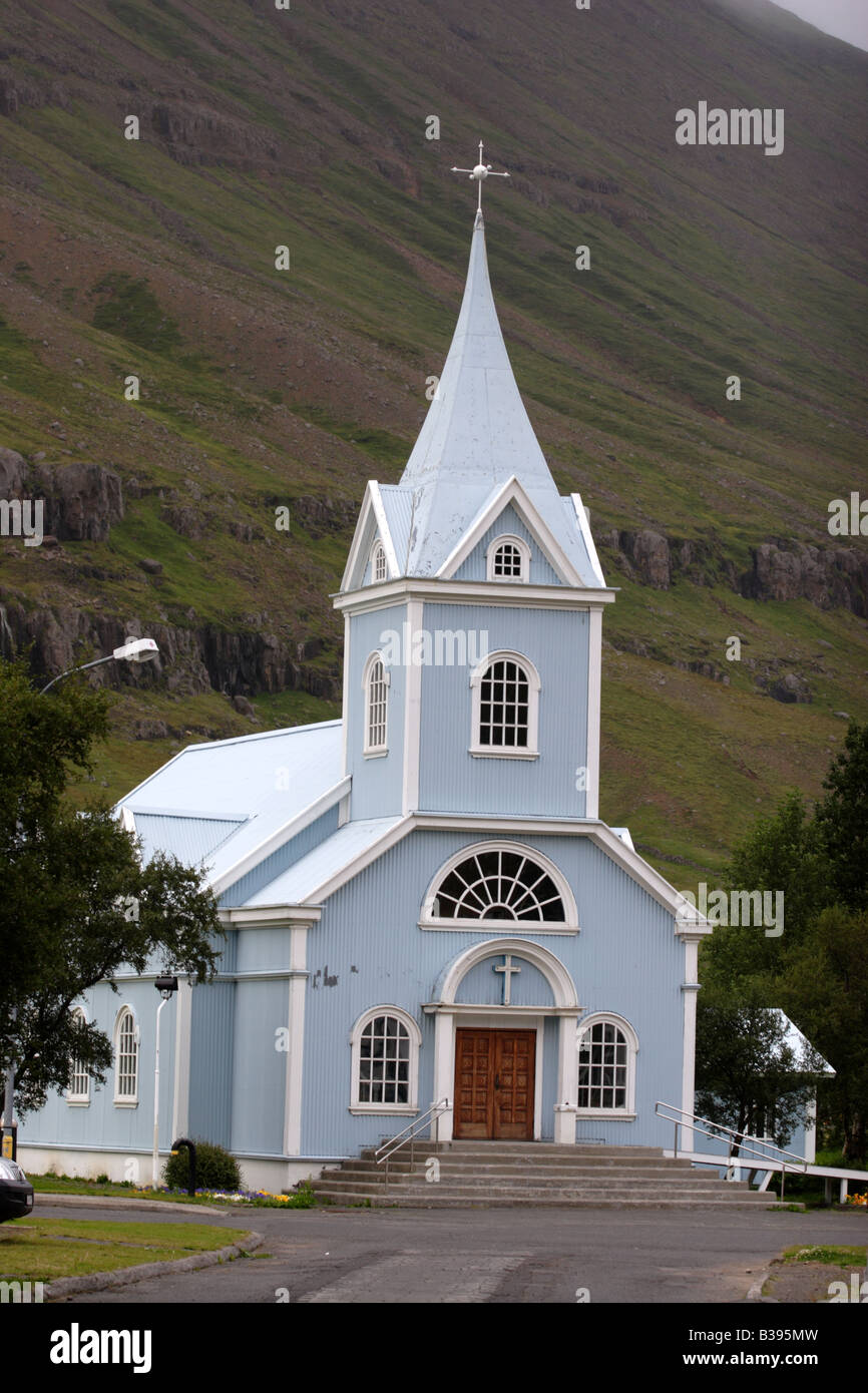 Old church in Seydisfjordur, Iceland. - Stock Image