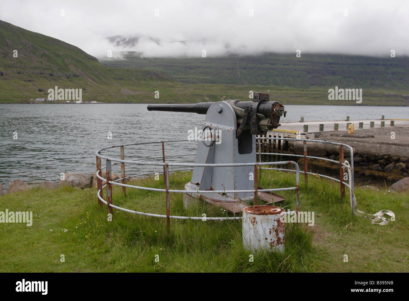 An old cannon in Seydisfjordur, Iceland. - Stock Image