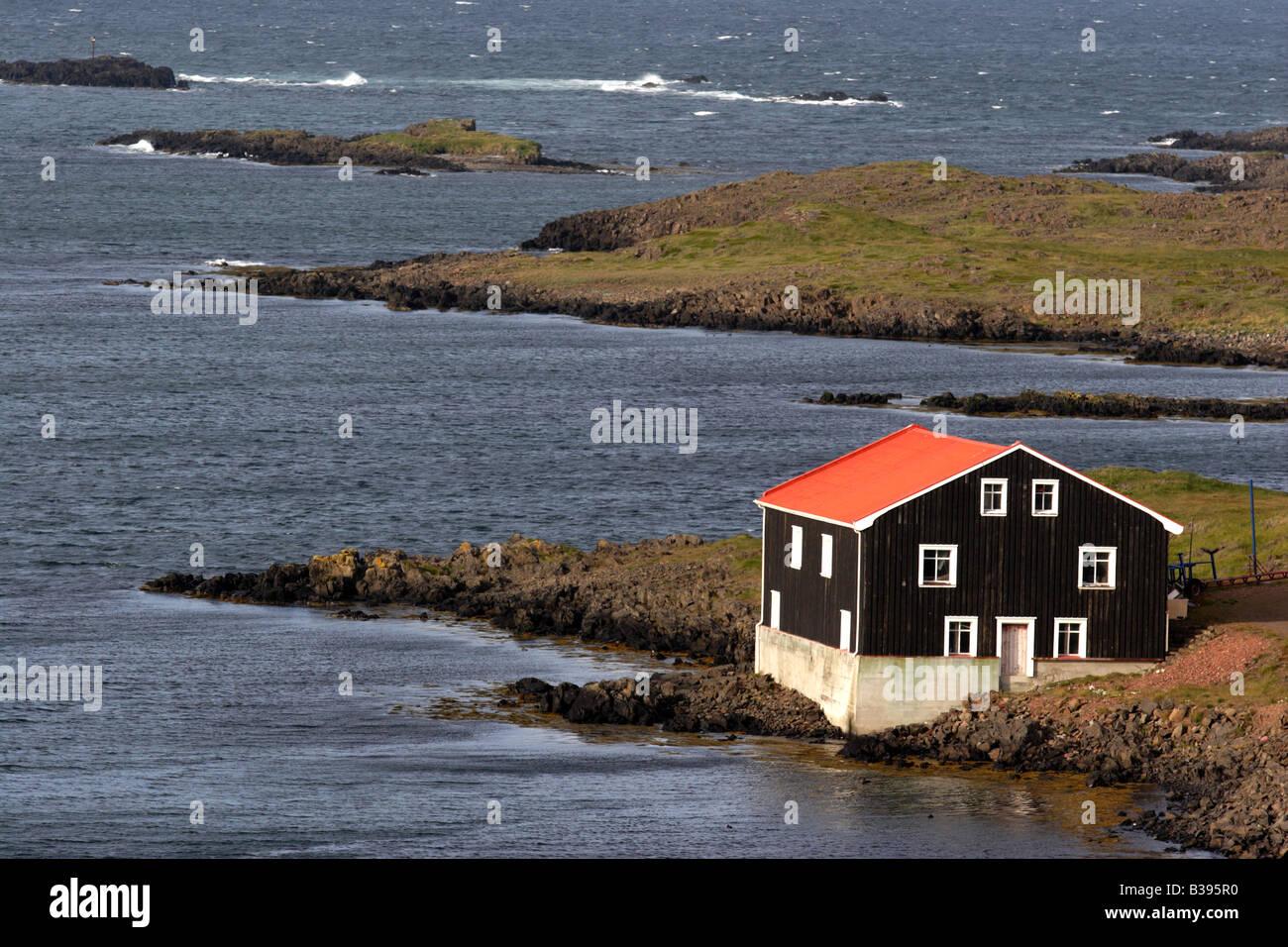 An old building in Djupivogur, east Iceland. - Stock Image