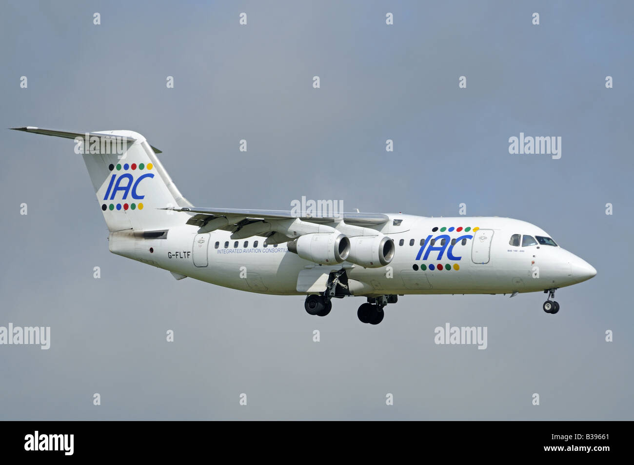 An IAC Bae 146-200 on final approach to Aberdeen Dyce Airfield Grampian Region North East Scotland - Stock Image