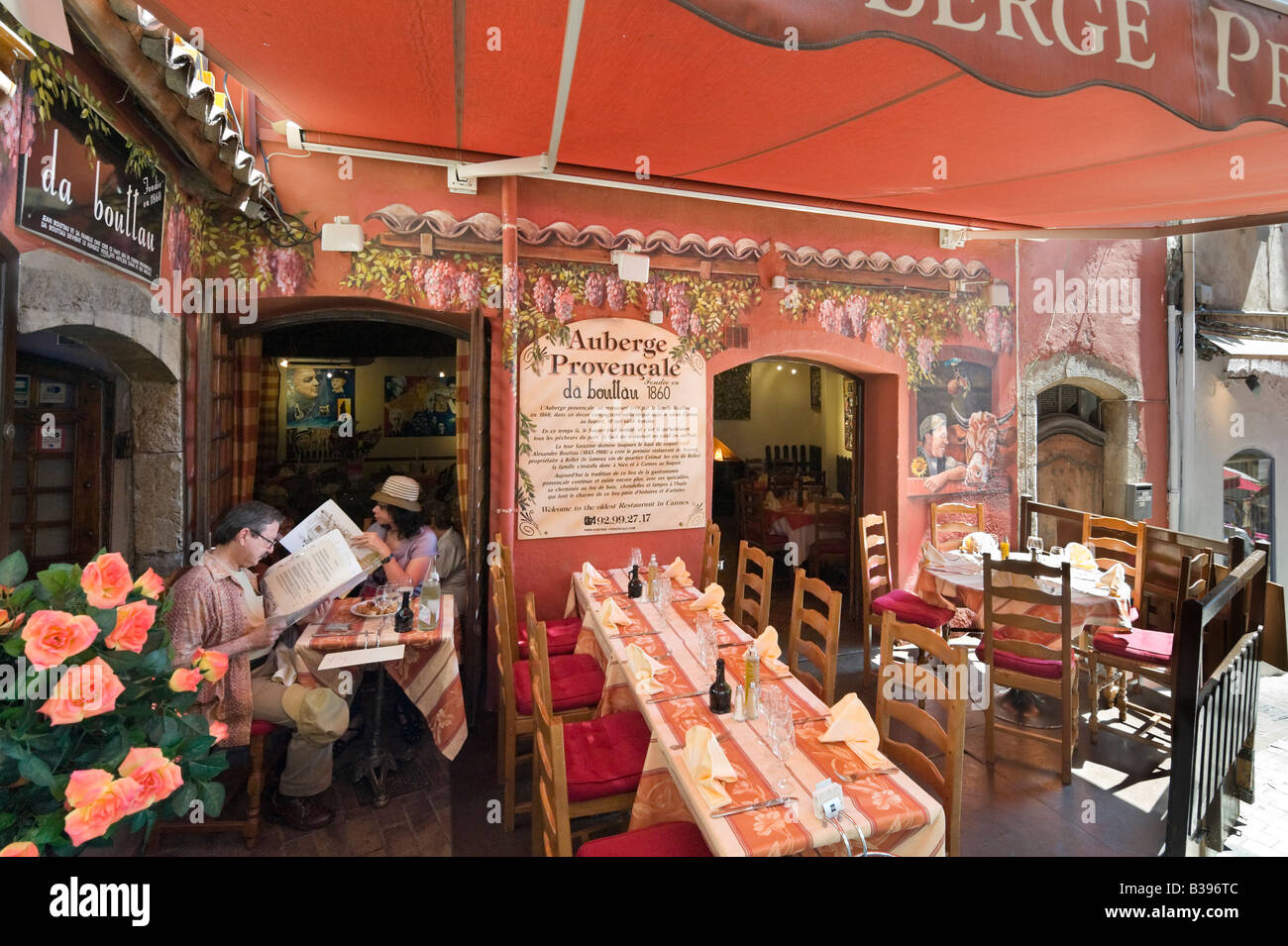 Auberge Provencale (oldest restaurant in Cannes), Rue du Suquet in the old town, Cannes, Cote d'Azur, Provence, - Stock Image