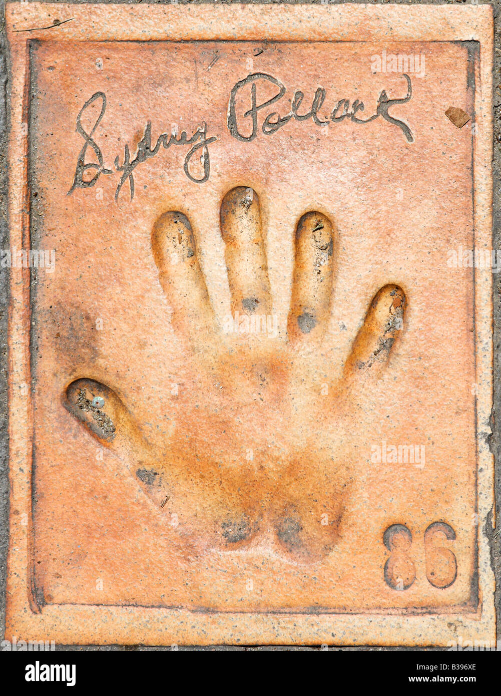 Sydney Pollack handprint on the sidewalk outside the Palais des Festivals, Cannes, Cote d Azur, Provence, France - Stock Image