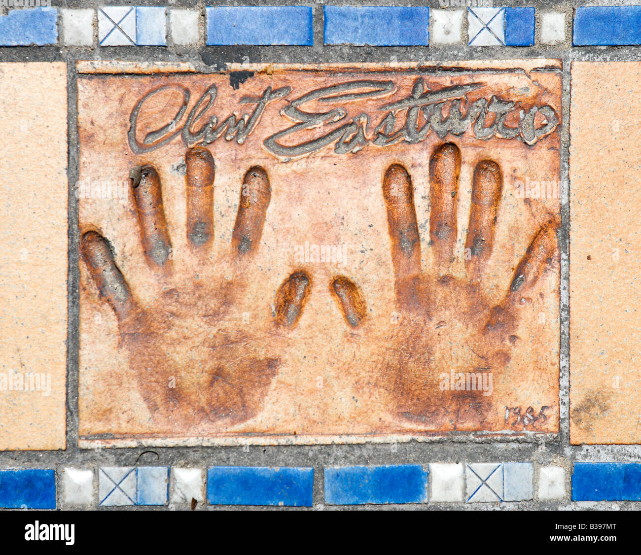 Clint Eastwood handprint on the sidewalk outside the Palais des Festivals, Cannes, Cote d Azur, Provence, France - Stock Image