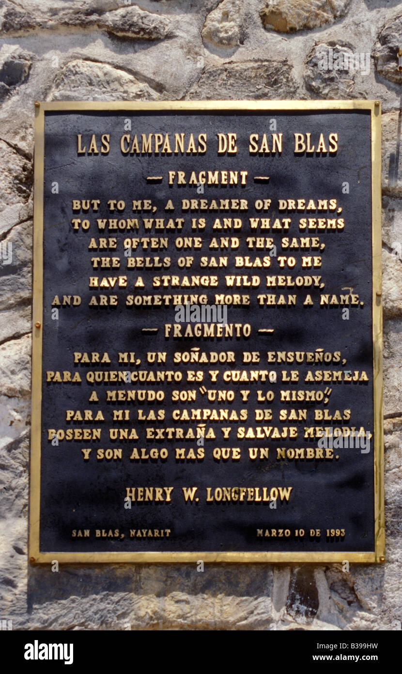 Quote From 1882 Poem The Bells Of San Blas By Henry Wadsworth Longfellow On Wall Church In Nayarit Mexico