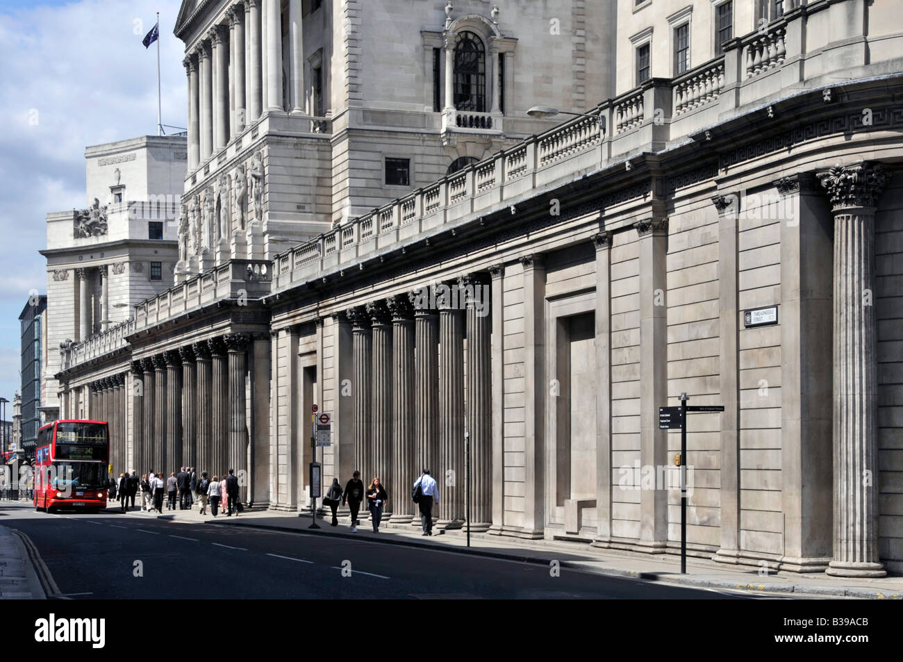 The front of the Bank of England in Threadneedle Street City of London England UK - Stock Image
