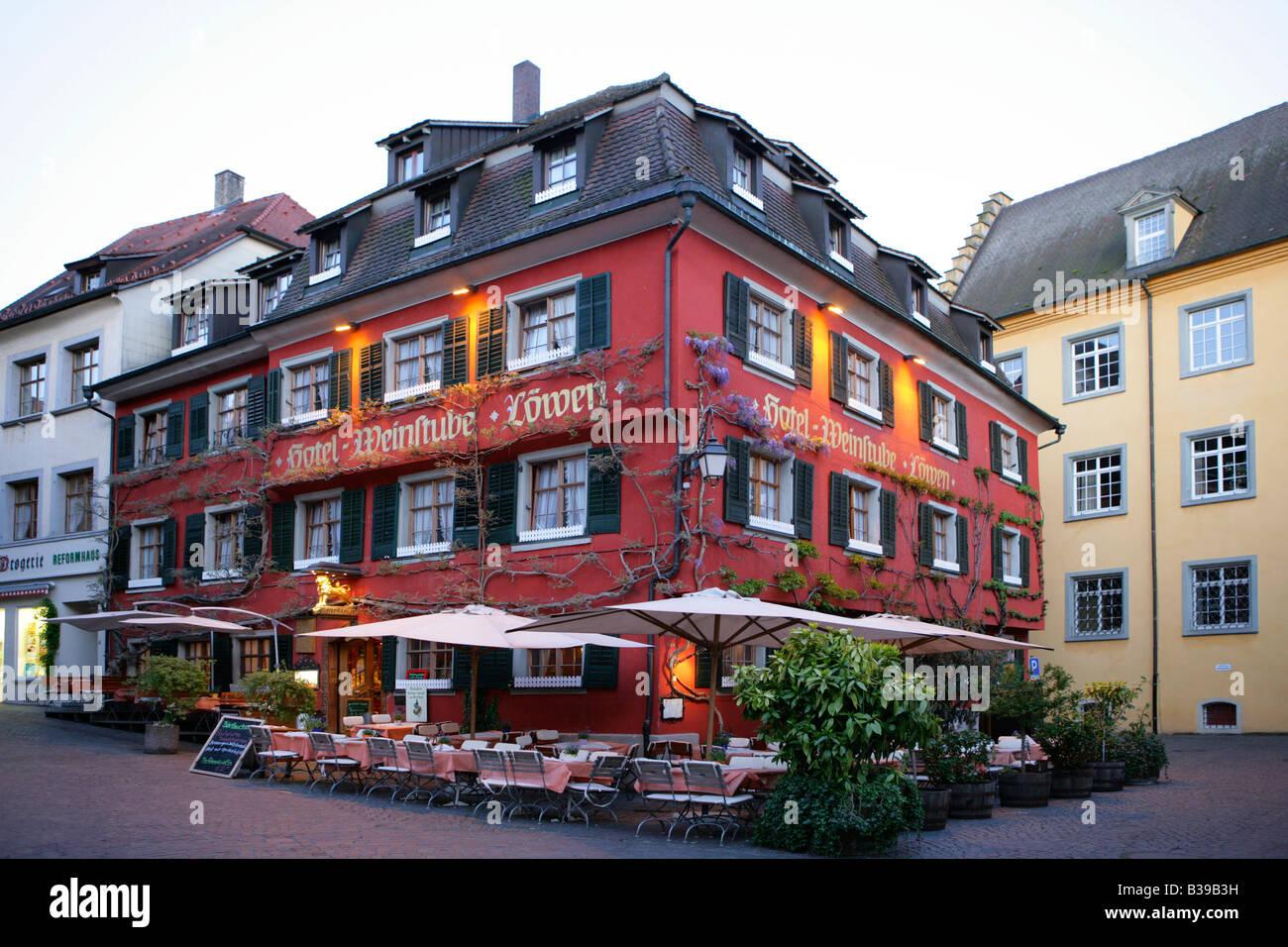 Deutschland, Baden-Wuerttemberg, Bodensee, Meersburg, Germany, Meersburg at Lake Constance Stock Photo