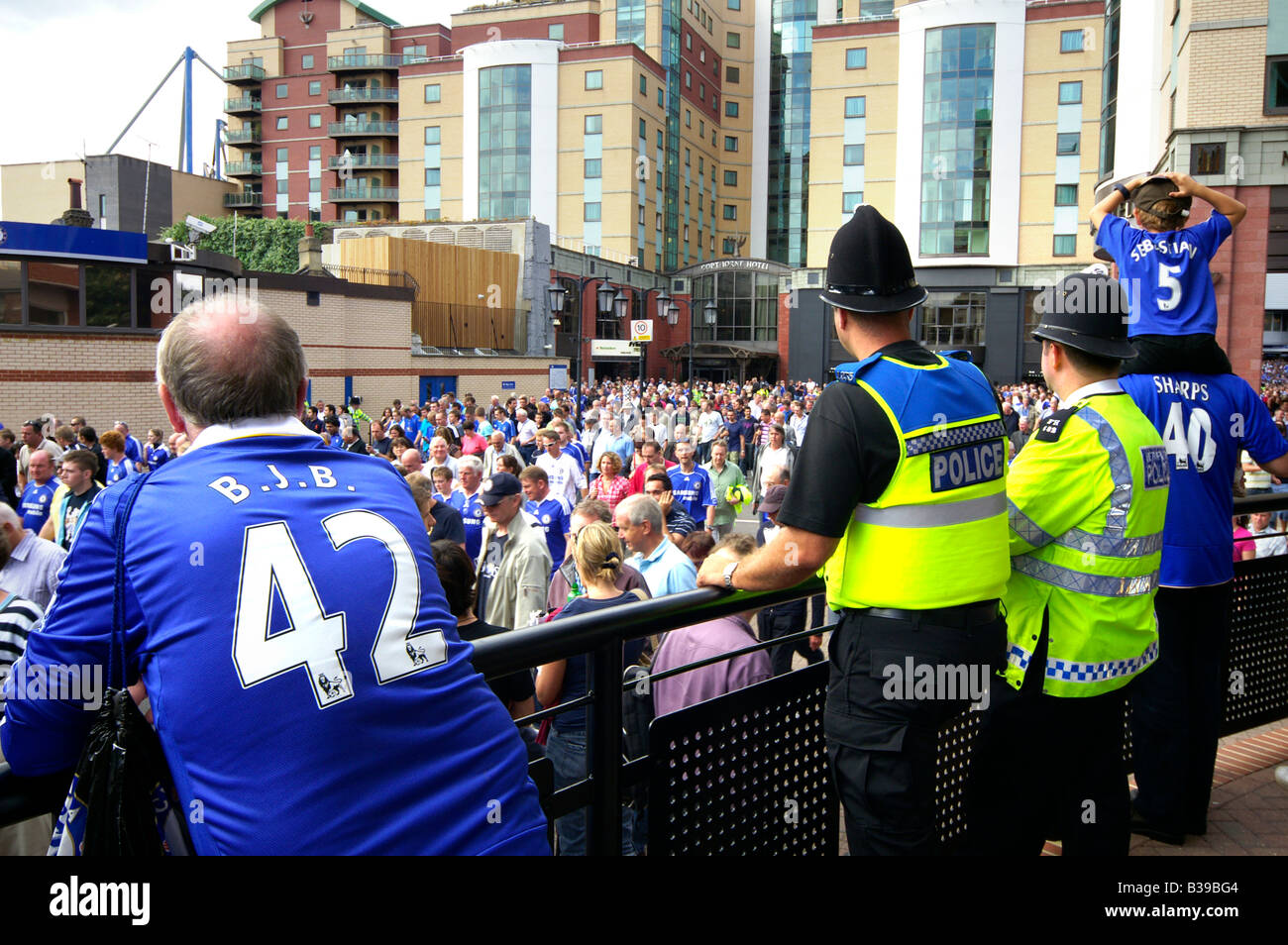 Chelsea fans after game on the Stamford Bridge, London - Stock Image