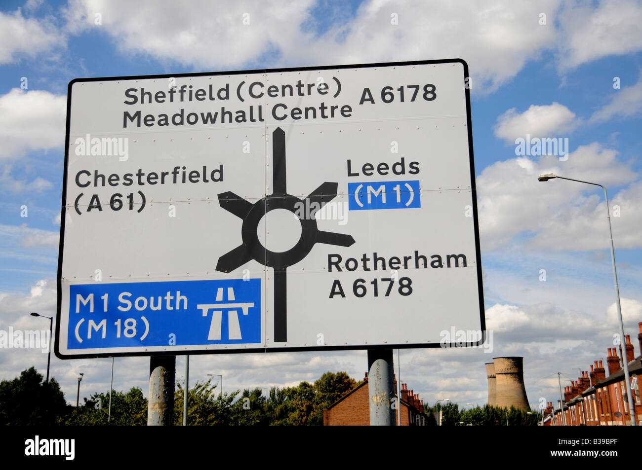 Signpost with Tinsley Cooling Towers in the background 12 hours before the Towers were demolished on 24 August 2008, - Stock Image