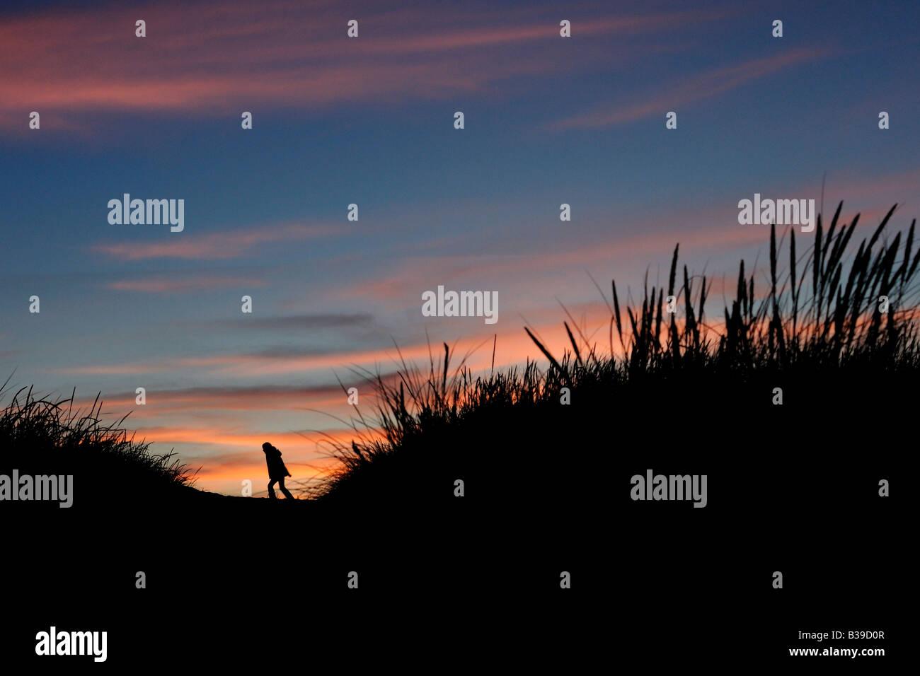 Mädchen in den Dünen bei Sonnenuntergang young girl in dunes in the sunset - Stock Image