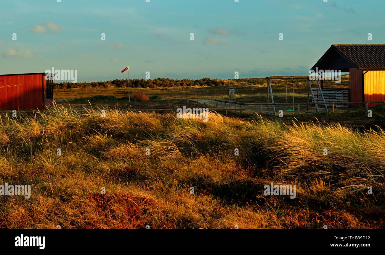 Abendstimmung hinter den Dünen evening mood behind the dunes - Stock Image