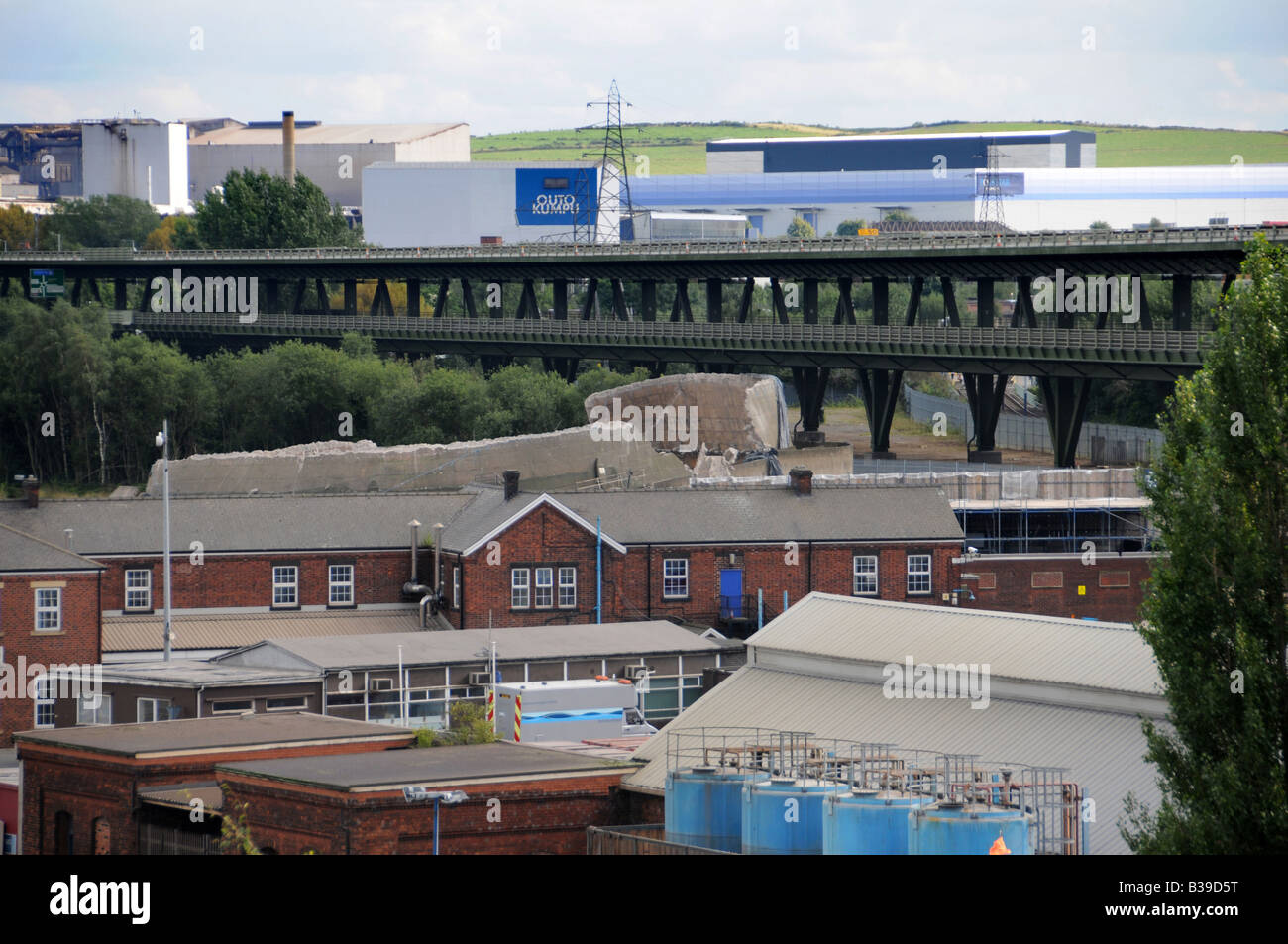 The remains of the Tinsley Cooling Towers 12 hours after the Towers were demolished 24 August 2008, Sheffield, England, - Stock Image