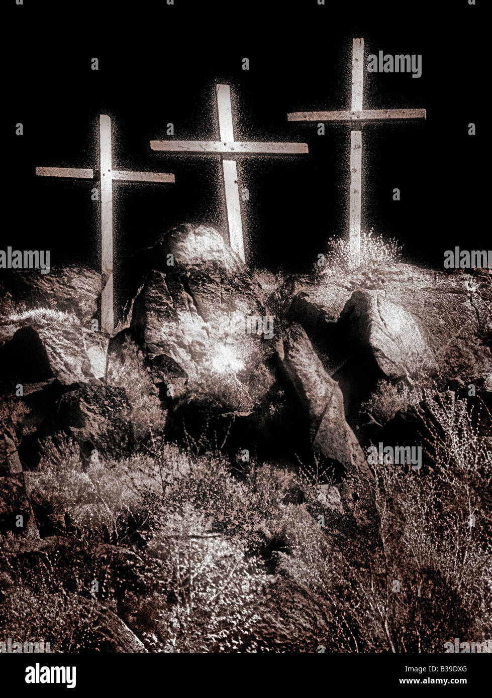 Christianity and Easter Three Crosses - Stock Image