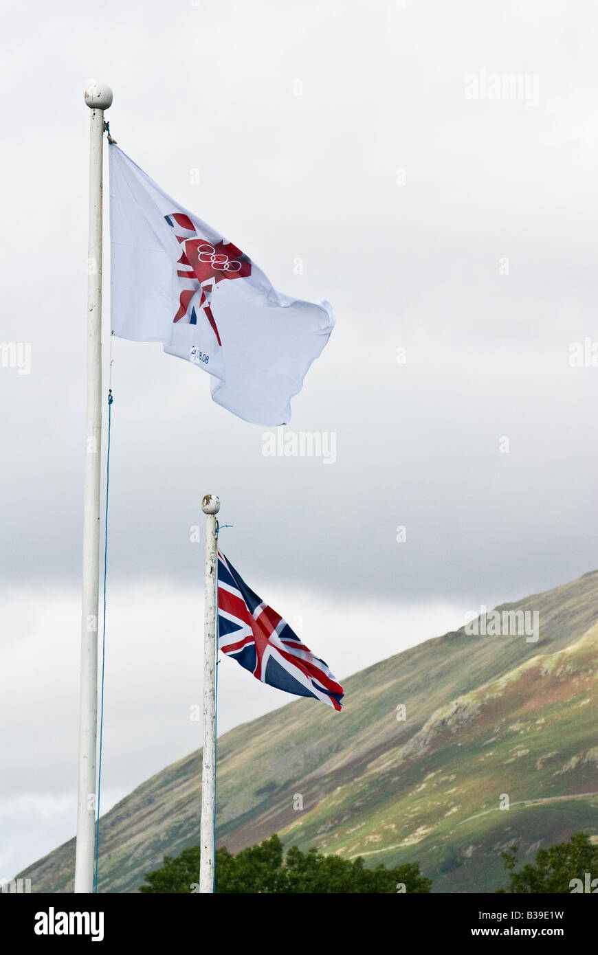 London 2012 Olympic flag and Union Jack - Stock Image