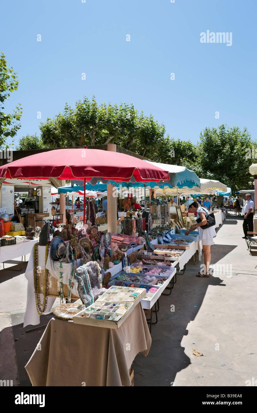 Saturday Flea Market off the Allees de la Liberte near the Vieux Port, Cannes, Cote d'Azur, Provence, France - Stock Image