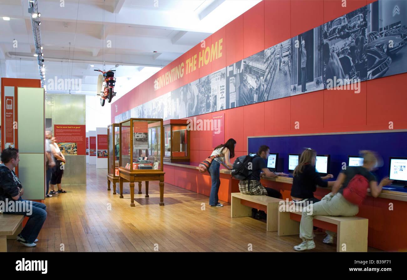 History of home technology exhibit Science Museum Kensington London - Stock Image