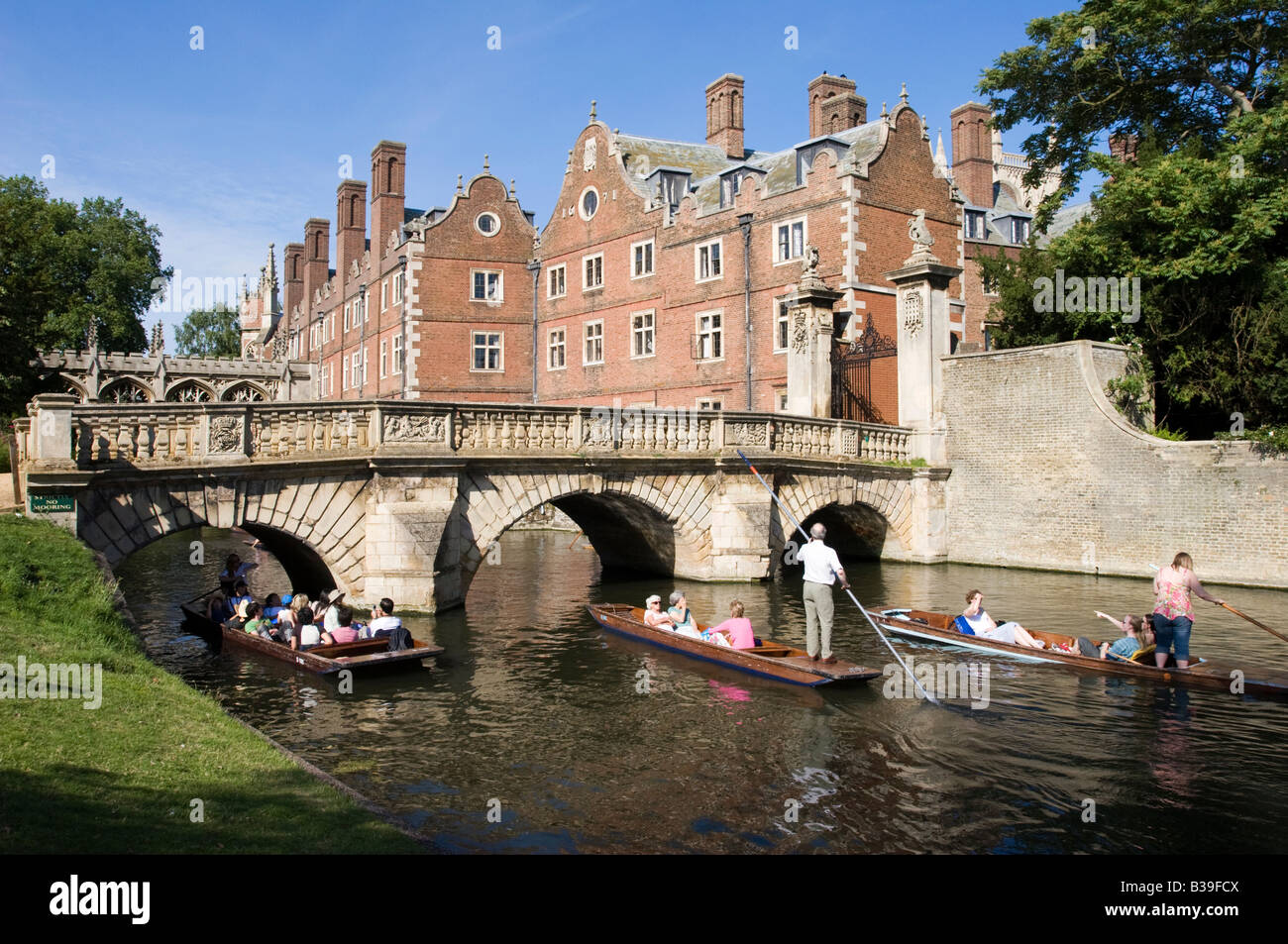 River Cam and St Johns College - Cambridge - Cambridgeshire - Stock Image