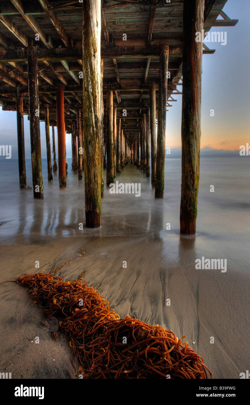 Seacliff Beach Pier Sunset 08 - Stock Image