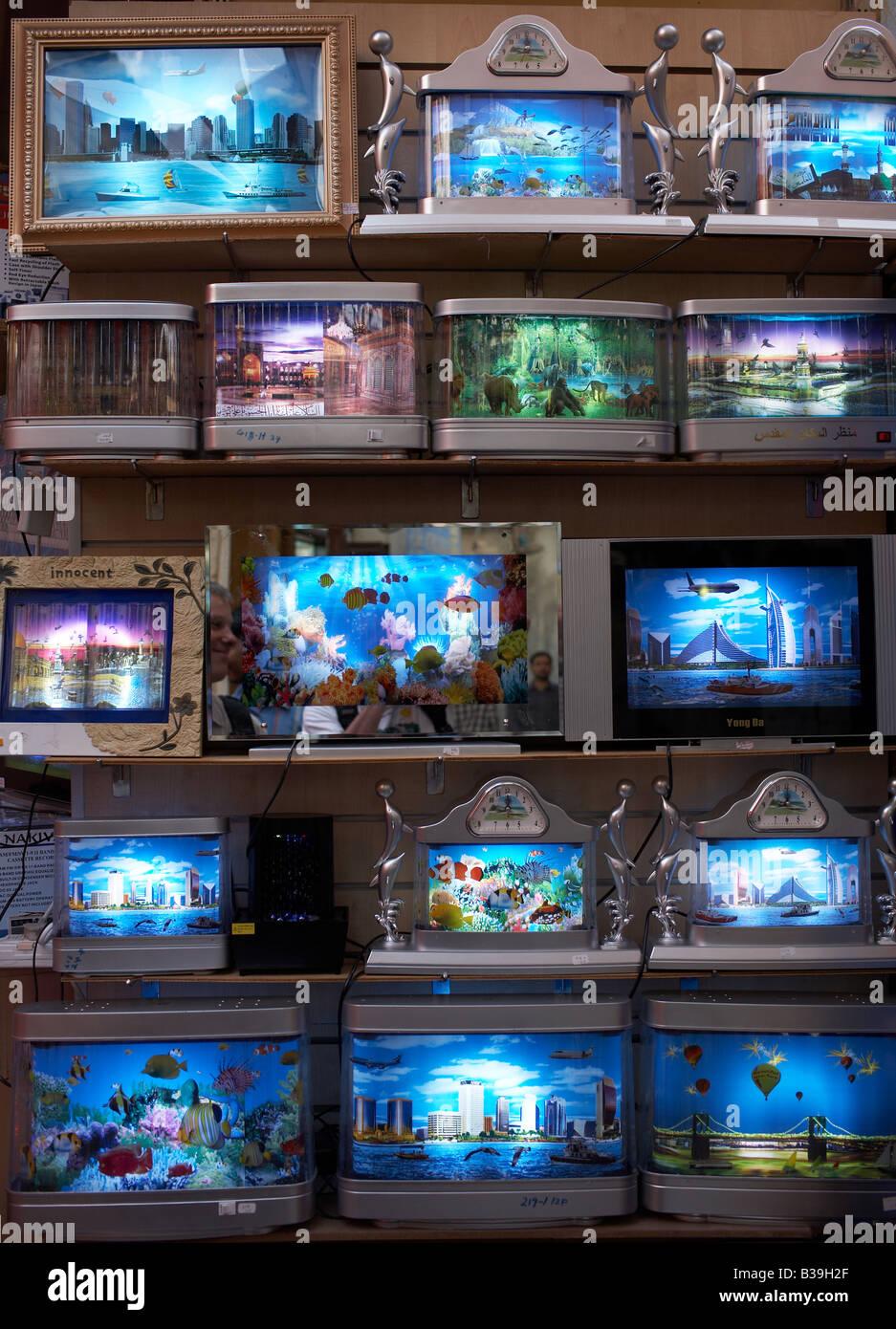 colourful neon trash diaphanes Leuchtbilder mit kitschigen Bildern Stock Photo