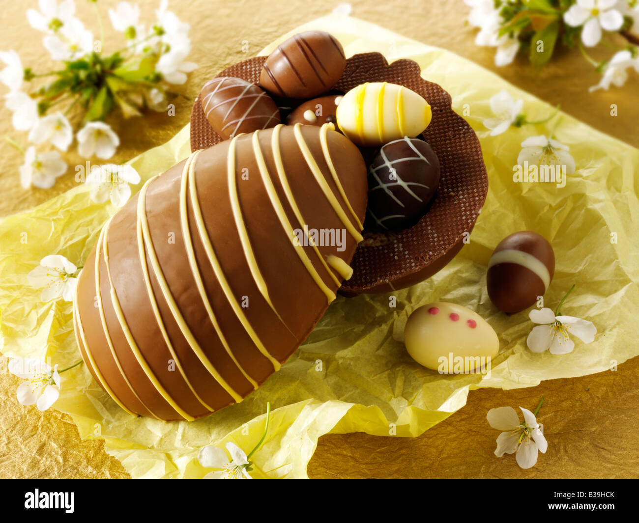 Traditional hand made decorated chocolate Easter eggs - Stock Image