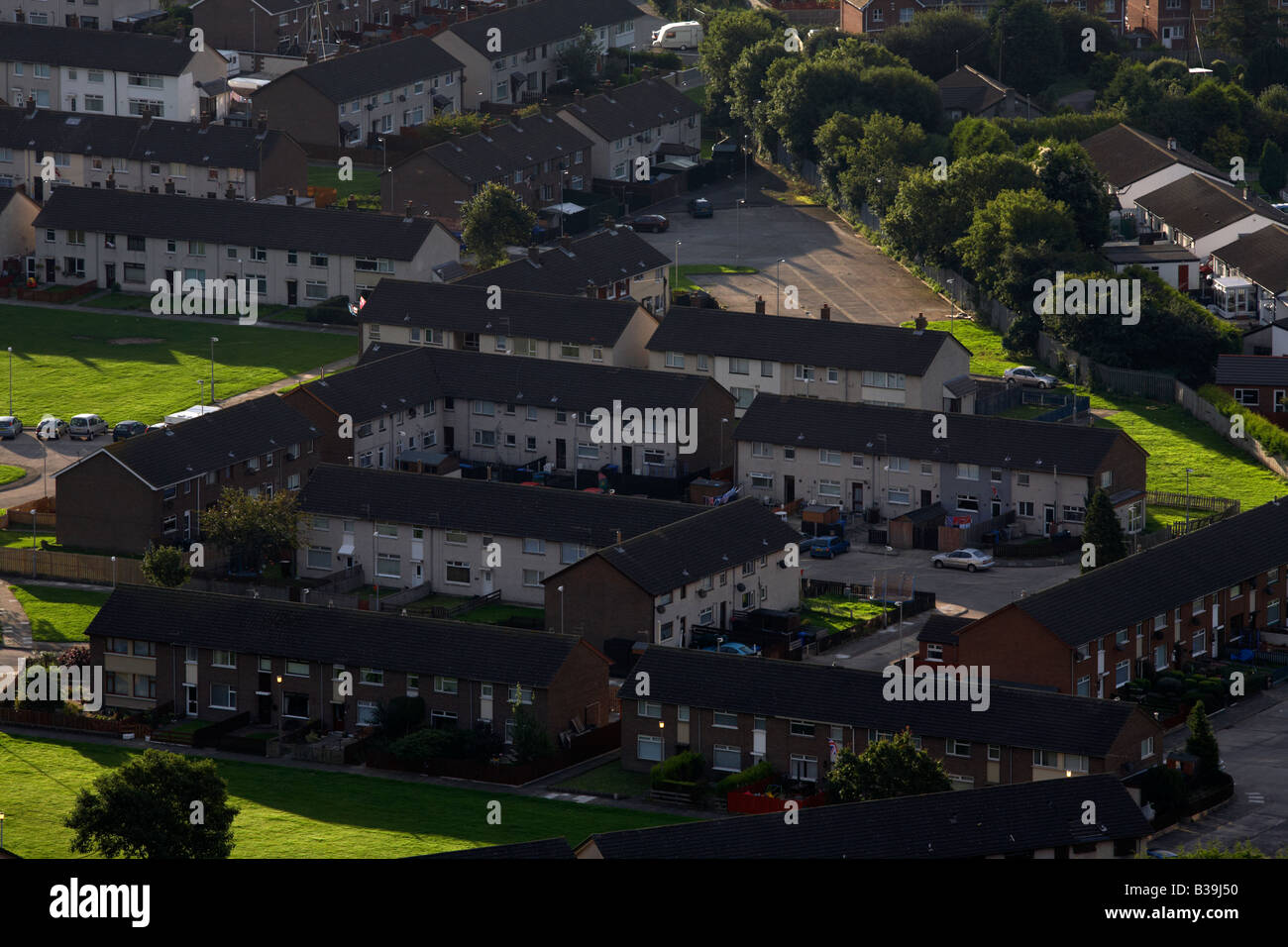 local housing authority council estate houses in newtownards county down northern ireland - Stock Image