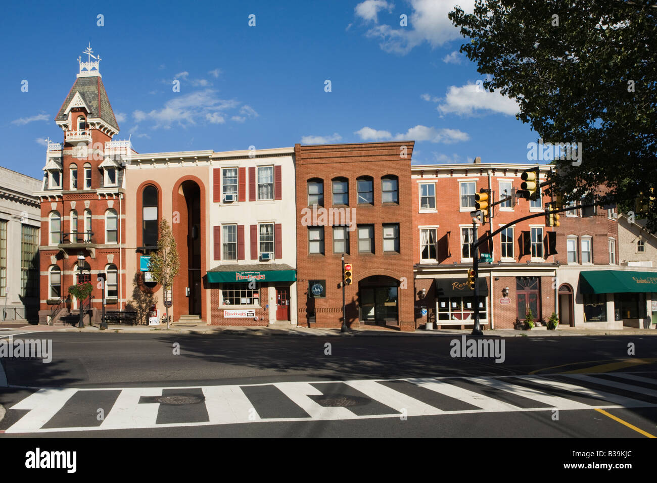 Business district of Doylestown Bucks County Pennsylvania - Stock Image
