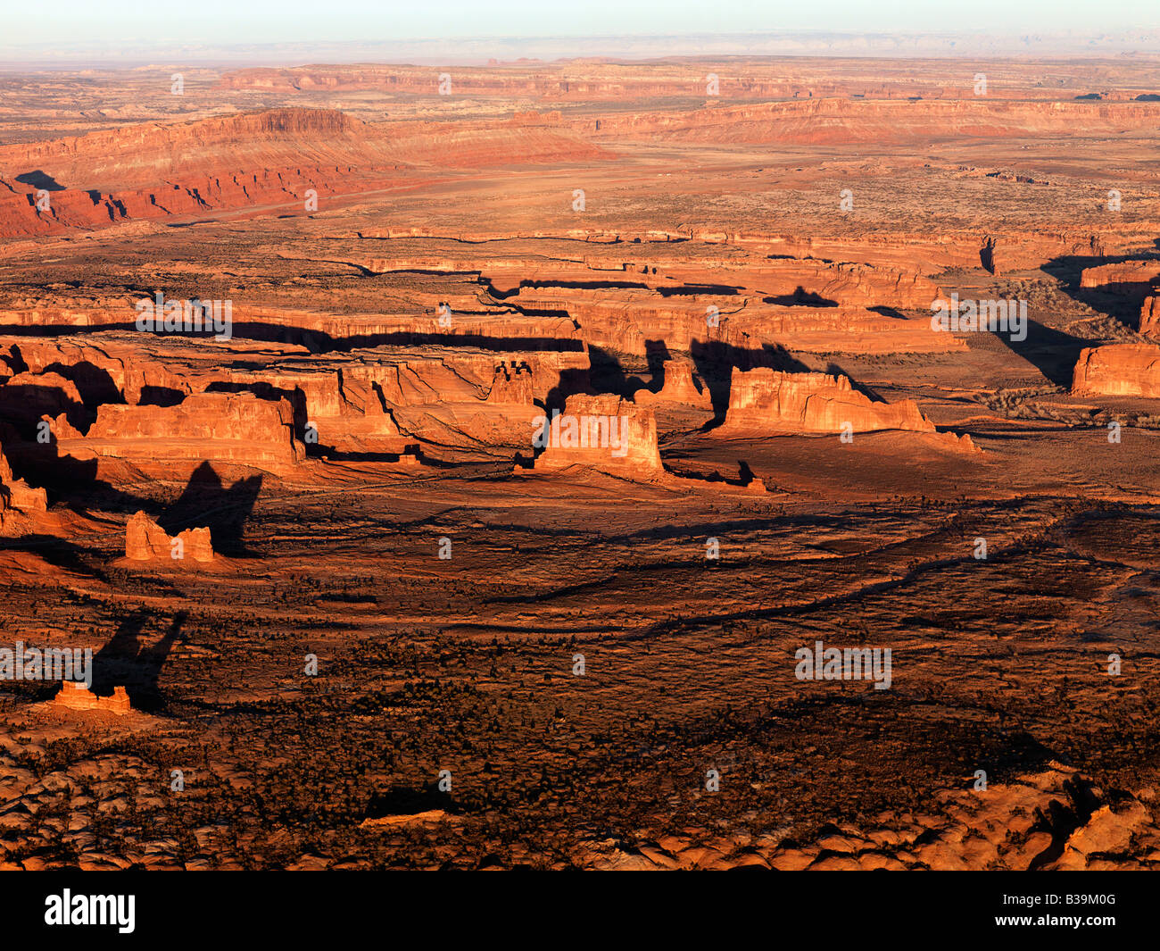 Aerial landscape of rock formations in Canyonlands National Park Utah United States - Stock Image