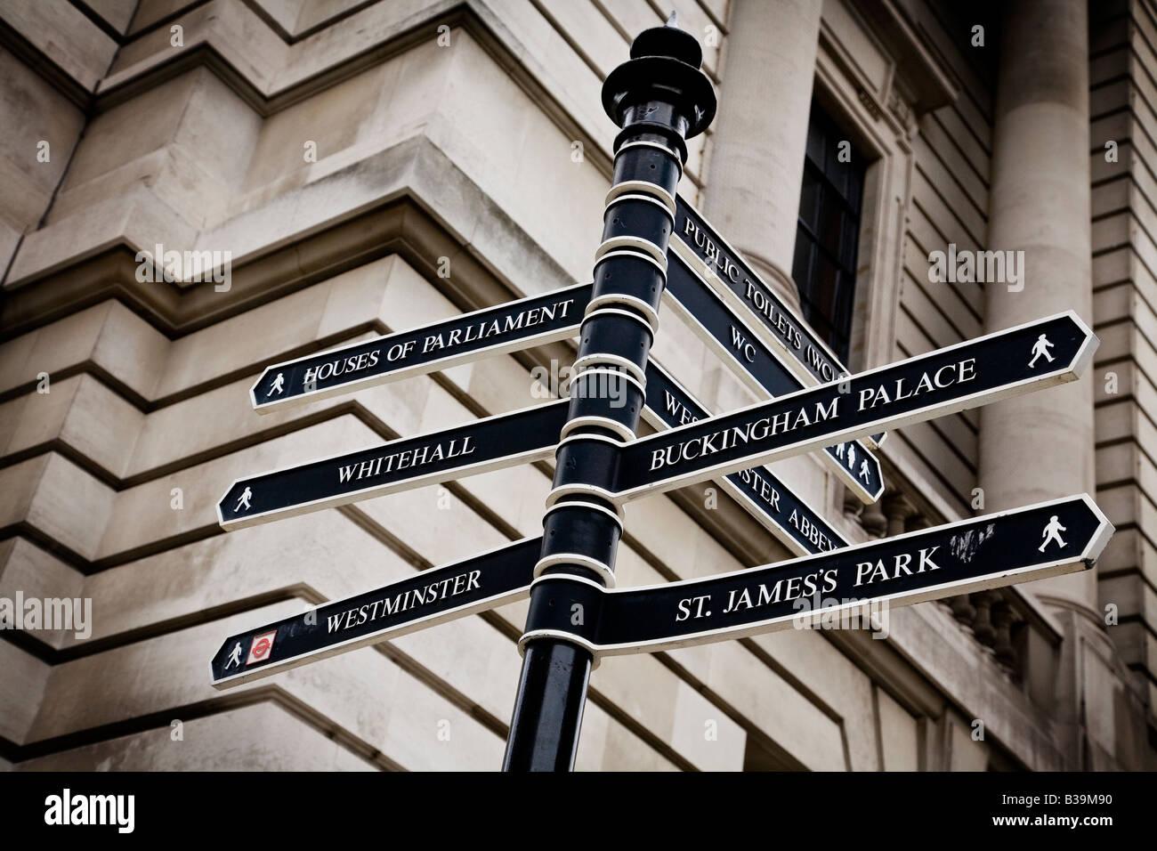 Signpost near Whitehall London UK - Stock Image