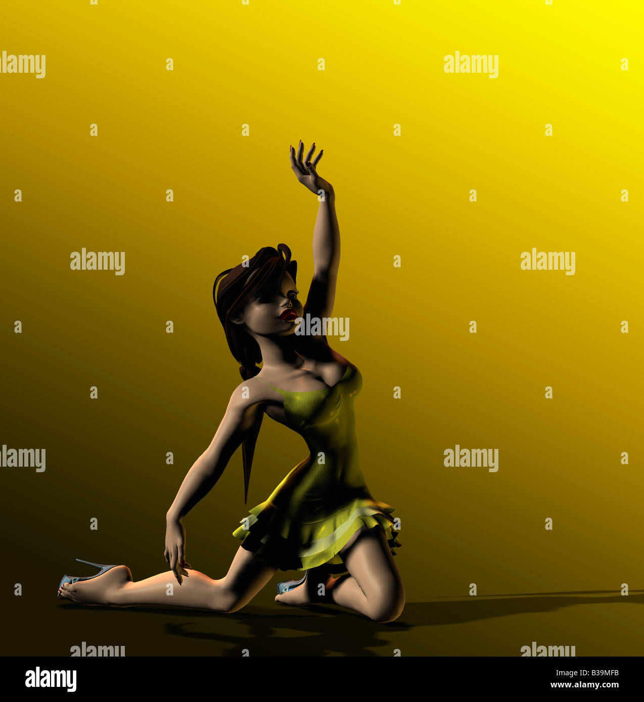 Computer Illustration Of Young Woman Dancing - Stock Image