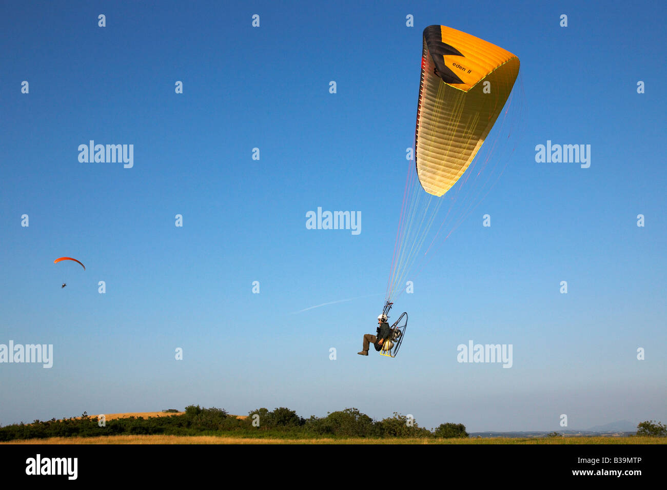 Motorized paraglider Pays Basque France - Stock Image