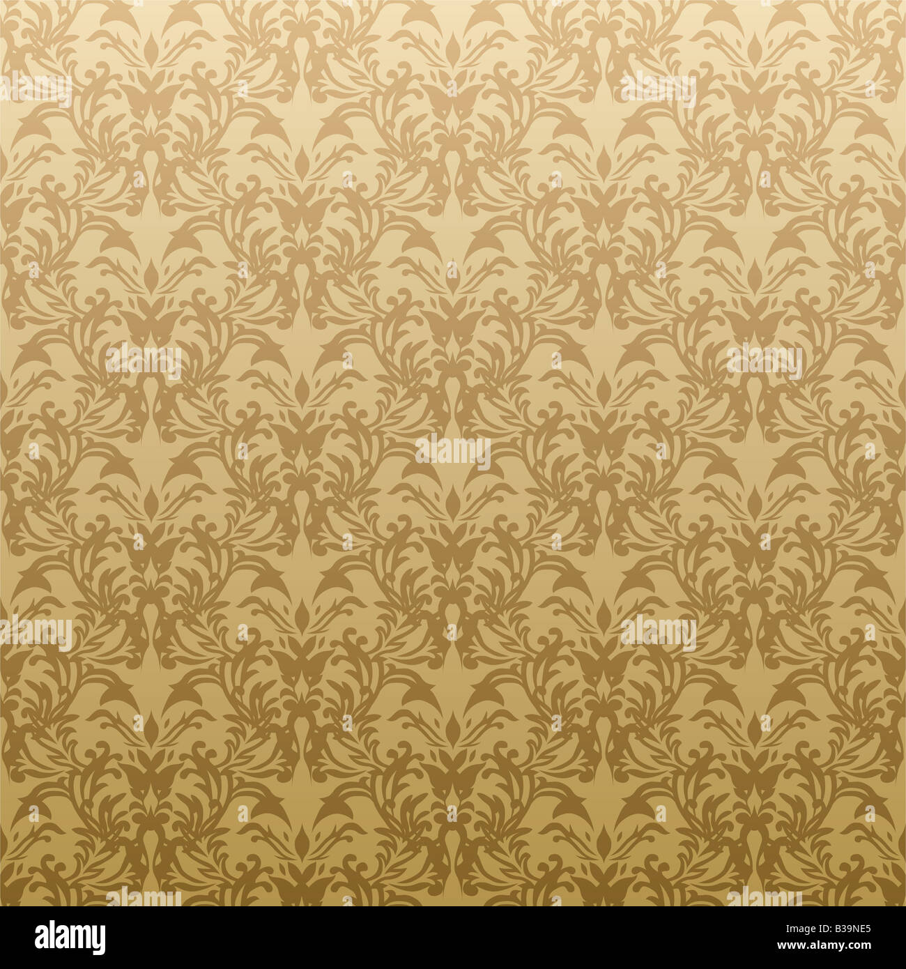 Floral Inspired Gothic Repeat Wallpaper Design In Gold