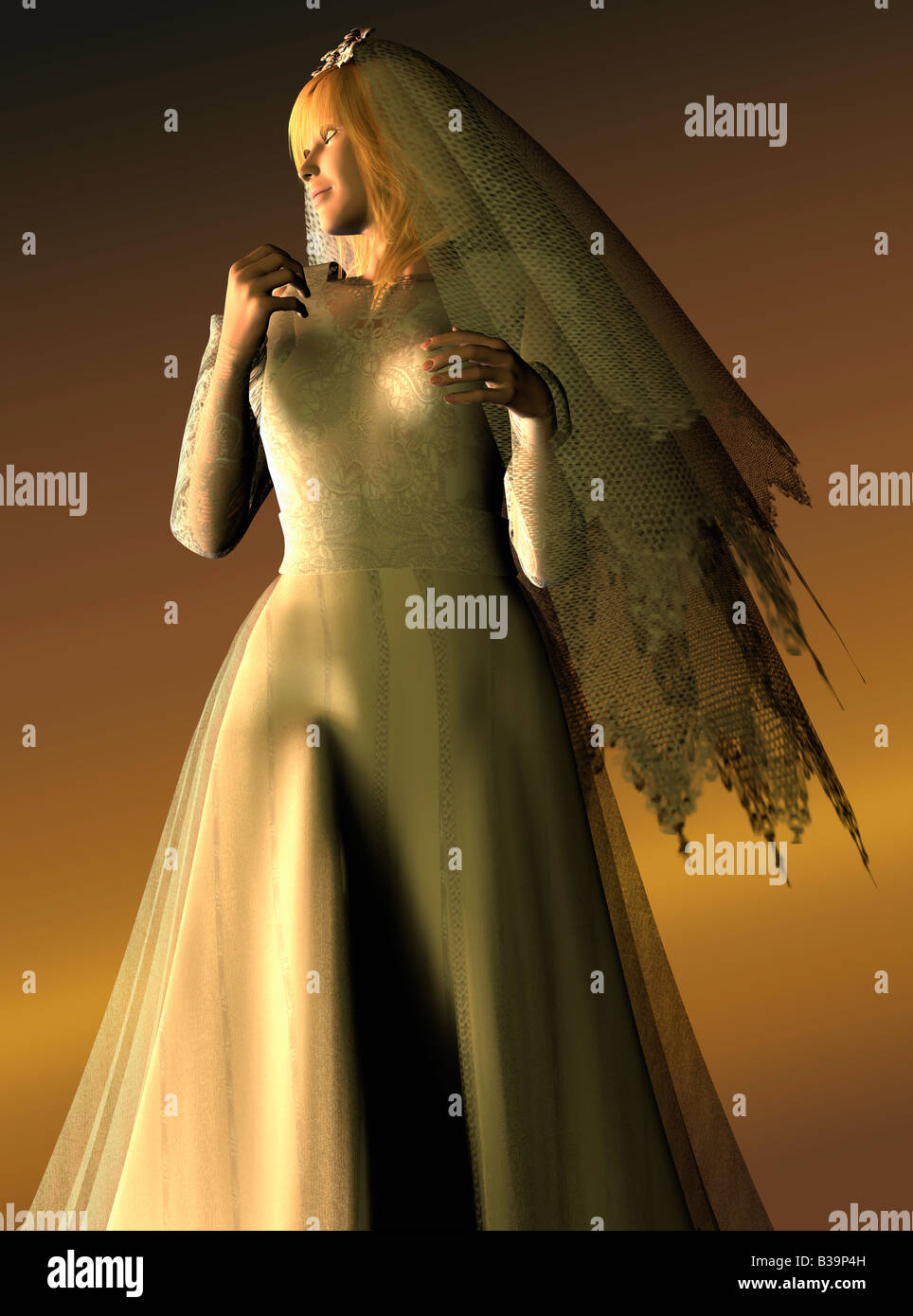 Computer Illustration Of Woman In Wedding Dress - Stock Image