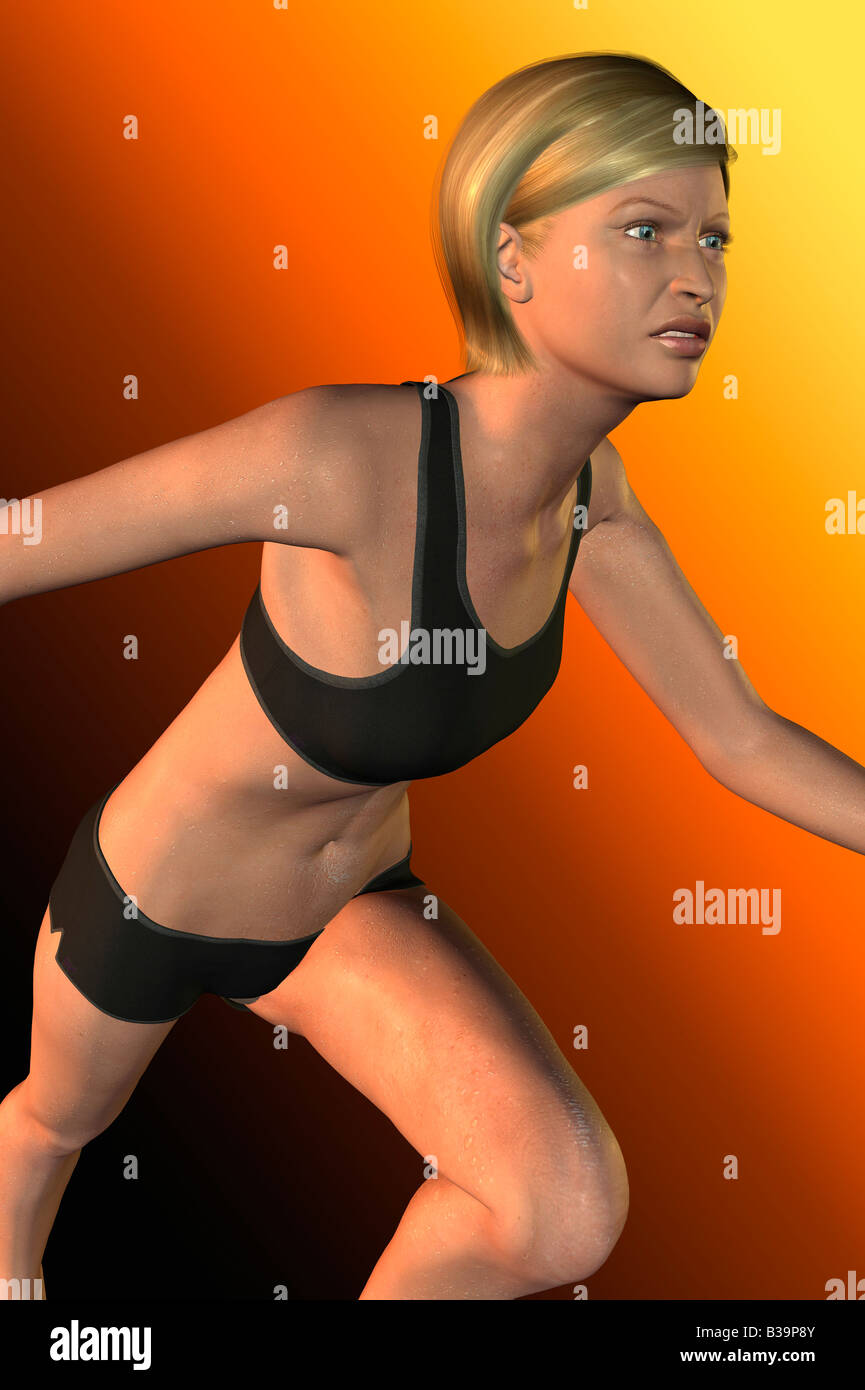 Computer Illustration Of A Woman Running - Stock Image