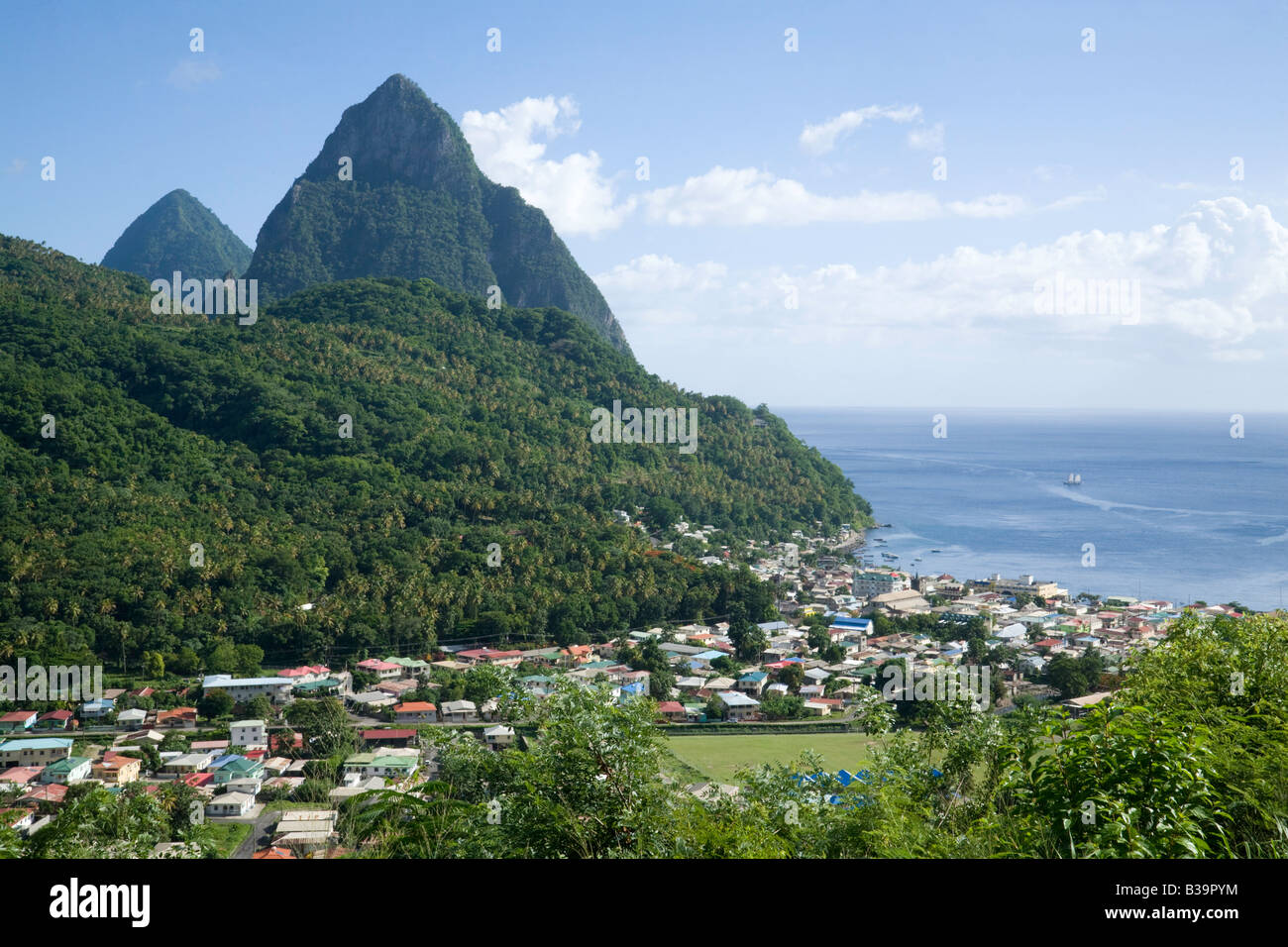 The town of Soufriere and the Pitons, St Lucia, 'West Indies' - Stock Image